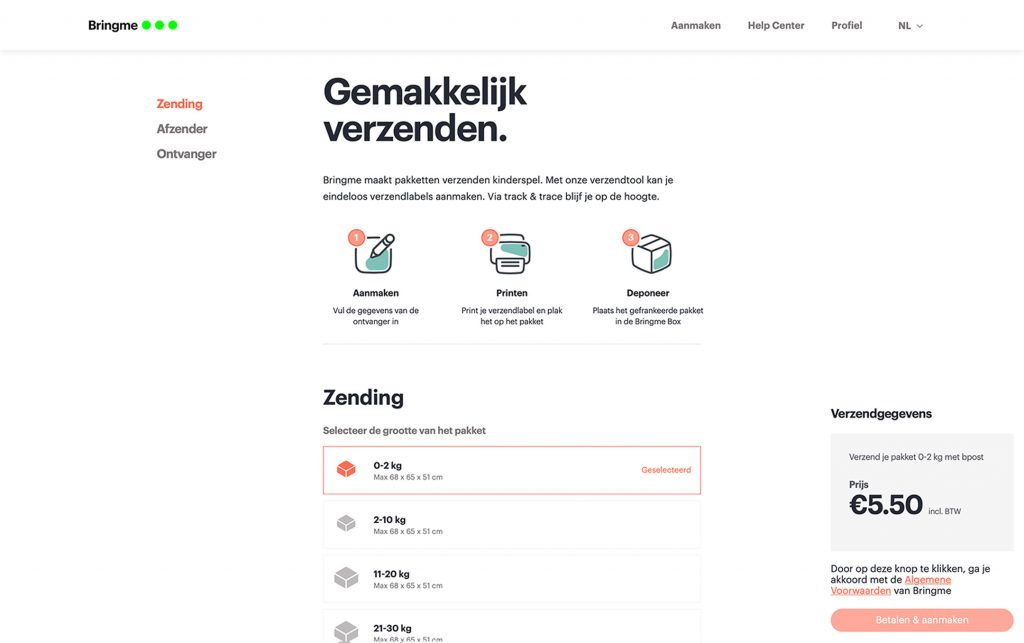 Product App Web Shipping Label screen NL