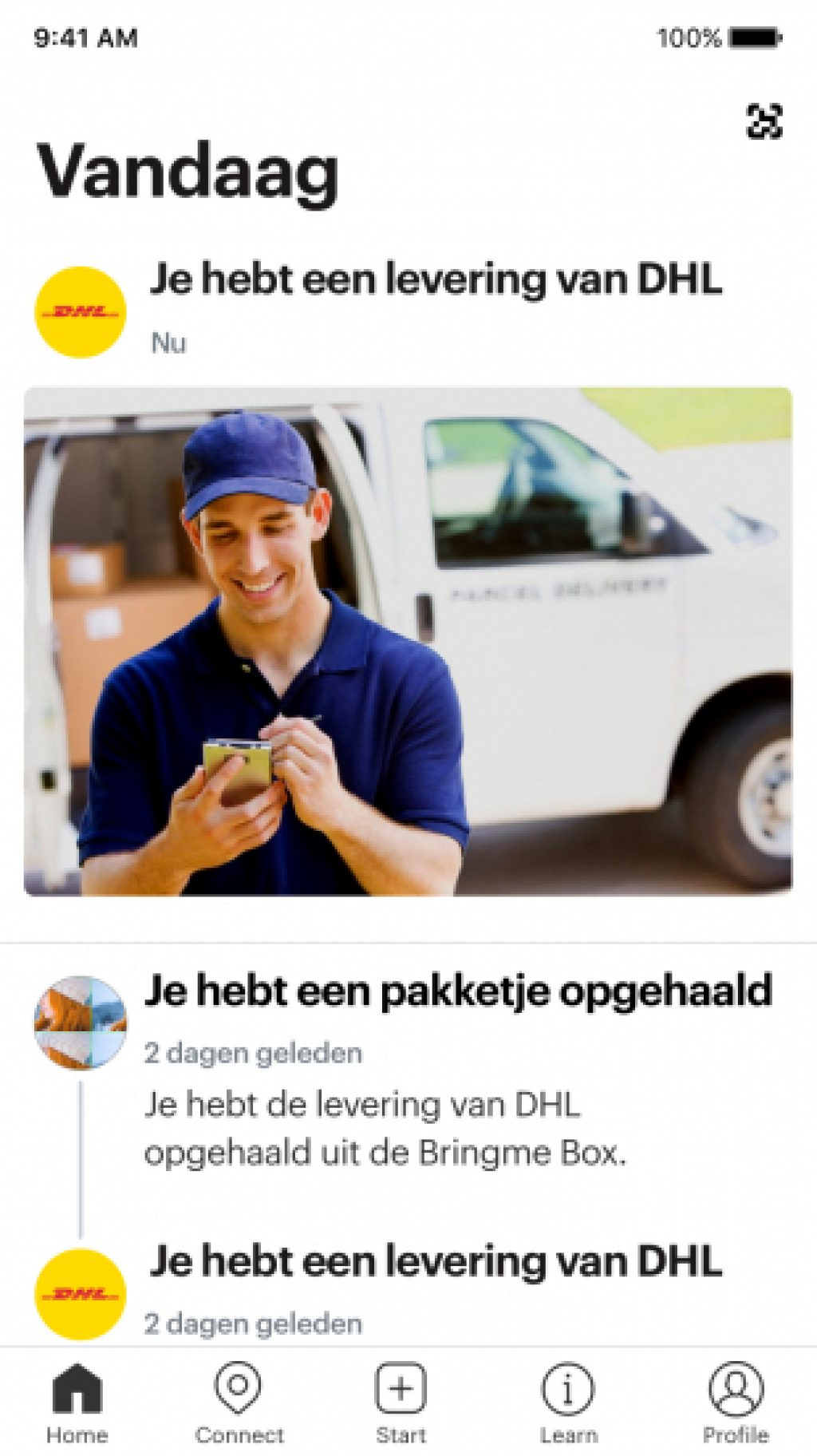 Product App iOS Bell Homefeed Snapshot Courier DHL NL