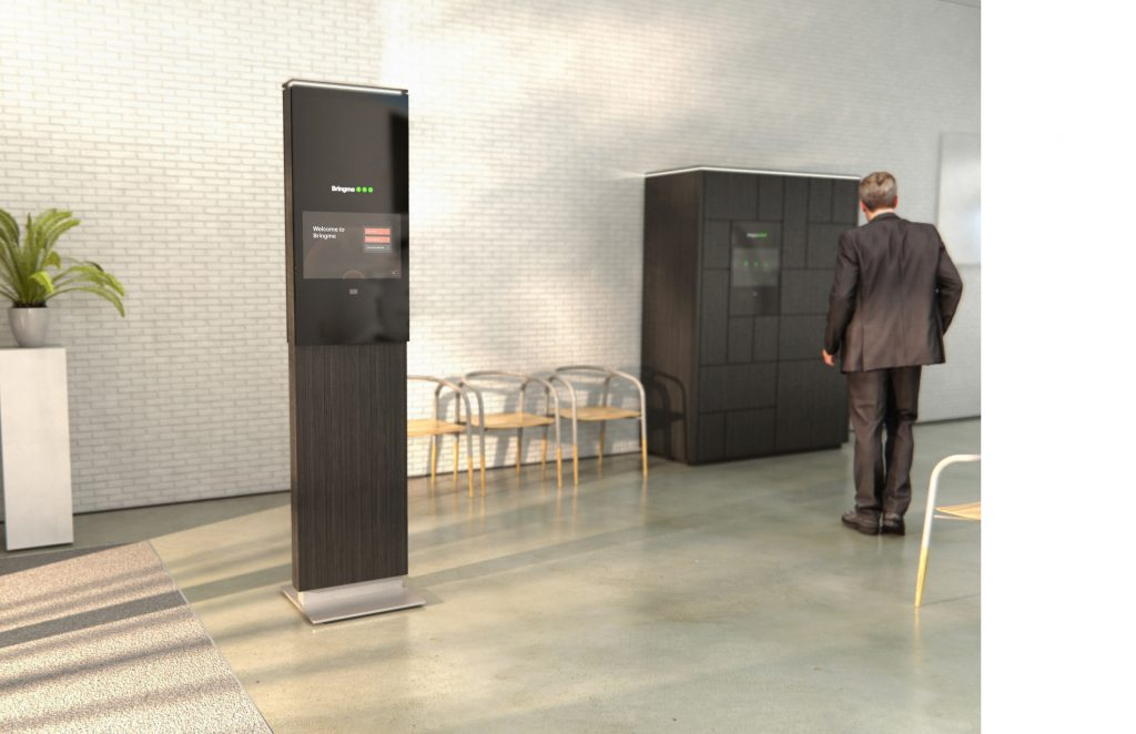 Bringme Desk virtual receptionist in setting next to smart parcel box with elder man in front