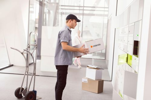 Product Residential Box R White Setting Grey Delivery Man Delivers Zalando Parcel OBI3028